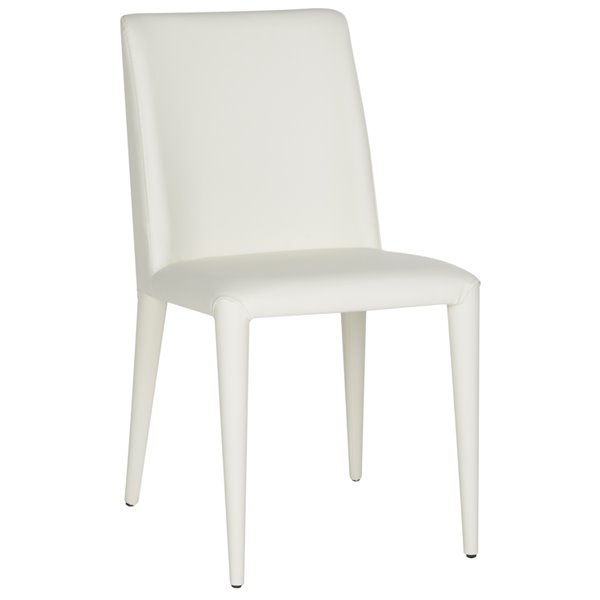 Safavieh Garretson 18-in H Leather Side Chair  - White Seat and Finish (Set Of 2)