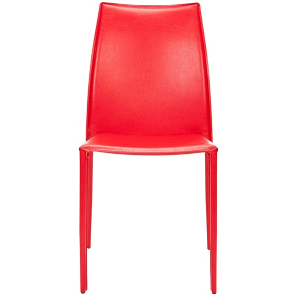 Safavieh Korbin 19-in H Stacking Side Chair  - Red Seat and Finish (Set Of 2)