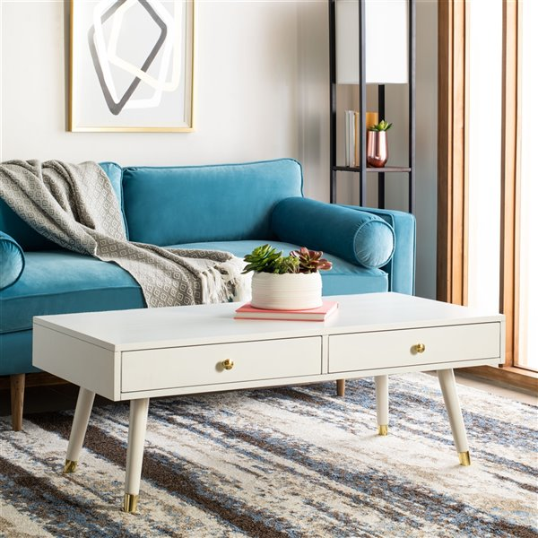 Safavieh Levinson Gold Cap  Rectangular Coffee Table- White