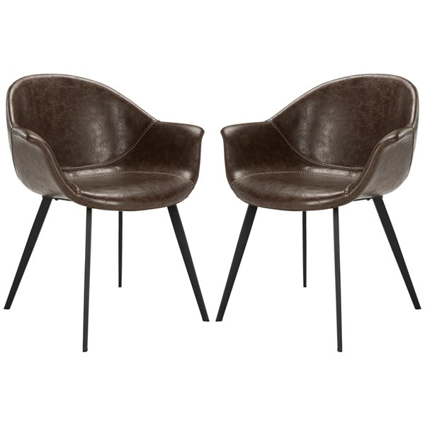 Safavieh Dublin Faux Leather Dining Tub Chair - Brown/Black (Set of 2)