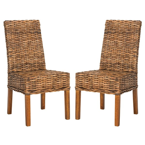 Safavieh Sanibel 18-in H Rattan Side Chair  - Light Walnut Seat and  Finish (Set Of 2)