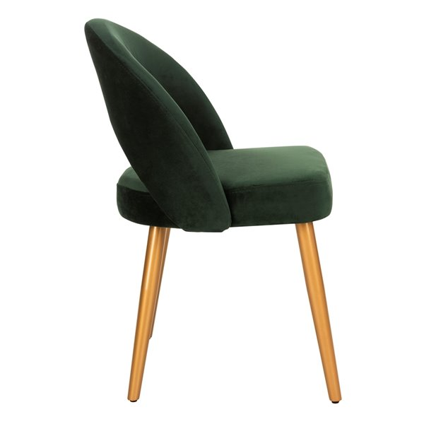Safavieh Giani Retro Dining Chair  - Lachite Green Seat and Gold Finish (Set Of 2)