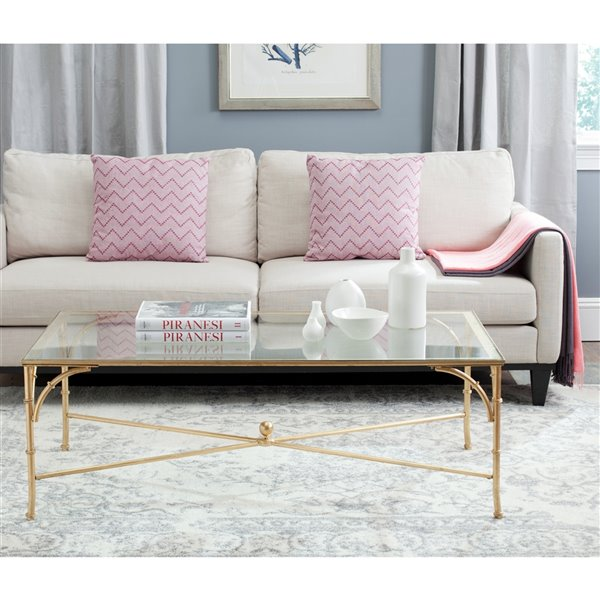 Safavieh Maurice Glass Rectangular Coffee Table with Faux Bamboo Frame