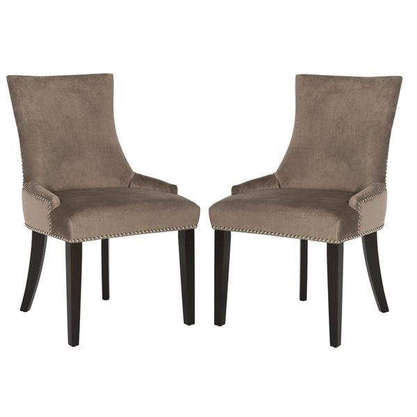 Safavieh Lester 19-in H Dining Chair  with Nickel Nail Heads - Mushroom Seat and Rustic Black Finish (Set Of 2)