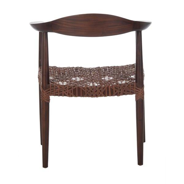 Safavieh Juneau Leather Woven Accent Chair - Walnut/Brown