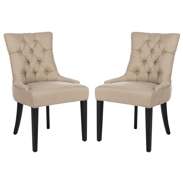 Safavieh Abby 19-in H Tufted Side Chair  with Silver Nail Heads - Antique Gold Seat and Rustic Black Finish (Set Of 2)