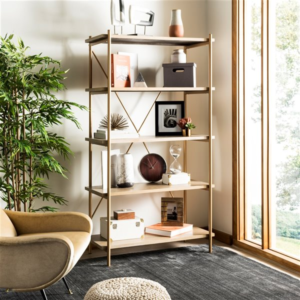 Safavieh Rigby 5 Tier Etagere - Gold and Rustic Oak