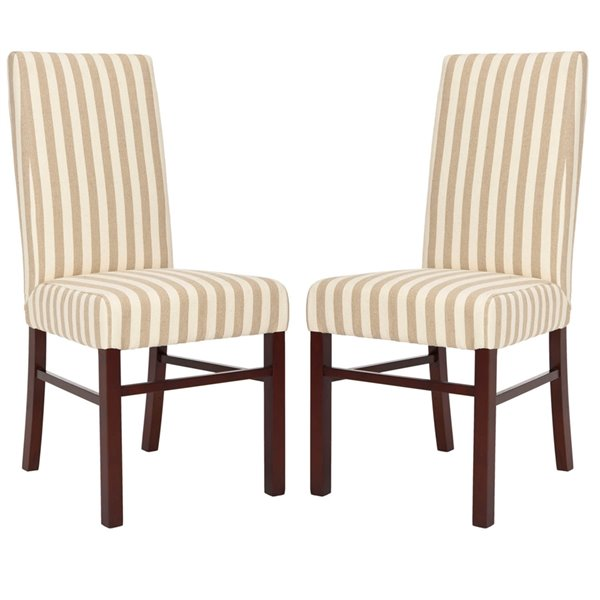 Safavieh Classic 20-in H Striped Side Chair  - Cream/Tan Seat and Cherry Finish (Set Of 2)