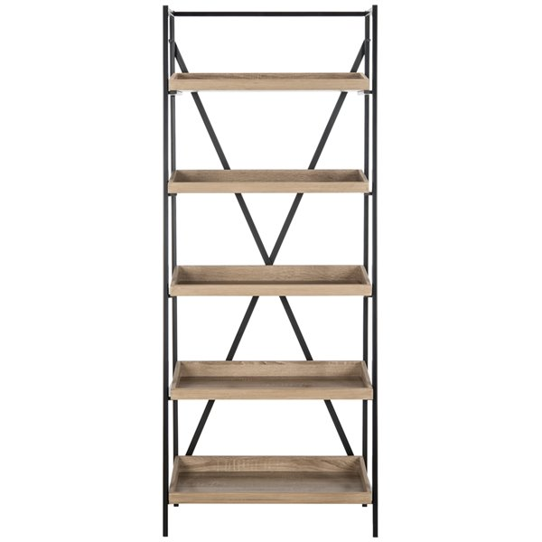 Safavieh Joel Retro Mid Century 5 Tier Etagere - Oak and Black
