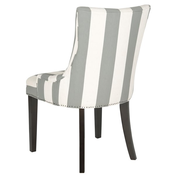 Safavieh Lester 19-in H Awning Stripes Dining Chair  - Grey/Bone Seat and Rustic Black Finish (Set Of 2)