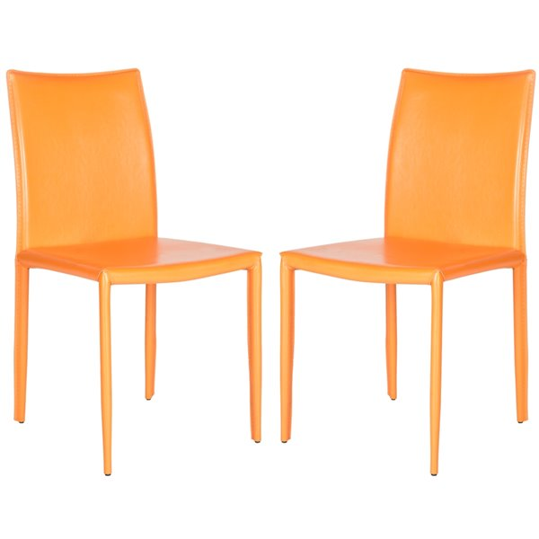 Safavieh Karna 19-in H Dining Chair  - Orange Seat and Finish (Set Of 2)