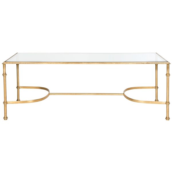 Safavieh Lucille Glass Rectangular Coffee Table with Gold Leaf Finished Frame