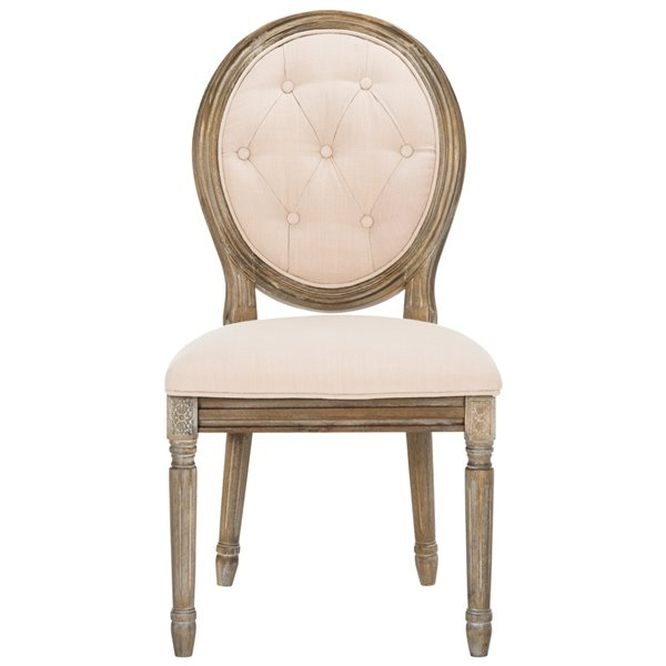 Safavieh Holloway Tufted Oval Side Chair  - Beige Seat and Rustic Oak Finish (Set Of 2)