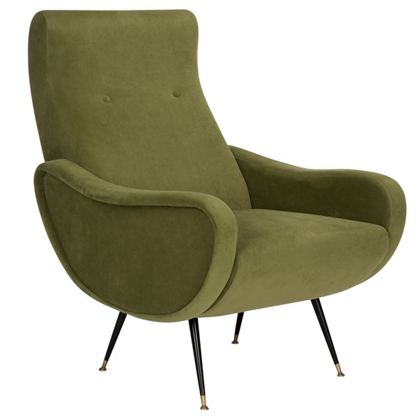 Safavieh Elicia Velvet Retro Mid Century Accent Chair - Hunter Green