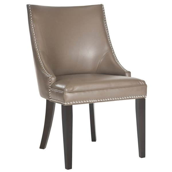 Safavieh Afton 20-in H Side Chair  with Silver Nail Heads - Clay Seat and Rustic Black Finish (Set Of 2)