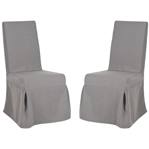 Safavieh Adrianna 19-in H Linen Slipcover Chair  - Arctic Grey Seat and Cherry Finish (Set Of 2)