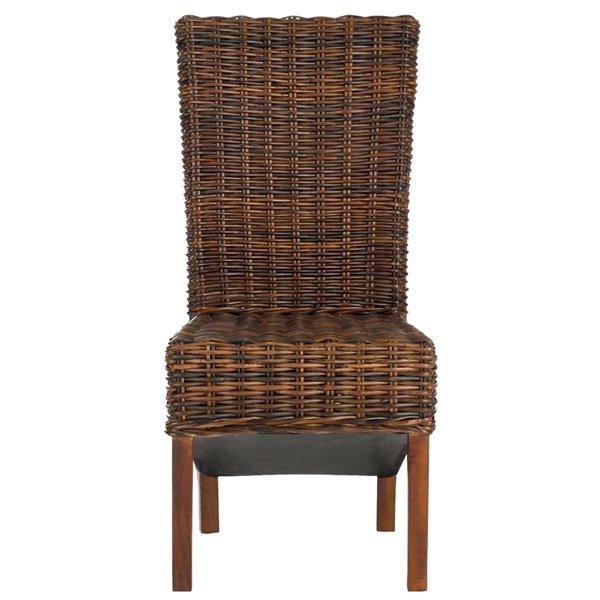 Safavieh Ridge 18-in H Rattan Side Chair  - Dark Brown Seat and Finish (Set Of 2)