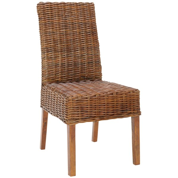 Safavieh Sanibel 18-in H Rattan Side Chair  - Antique Walnut Seat and Finish (Set Of 2)