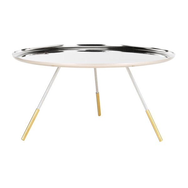 Safavieh Orson Round Silver Coffee Table with  Gold Capped legs