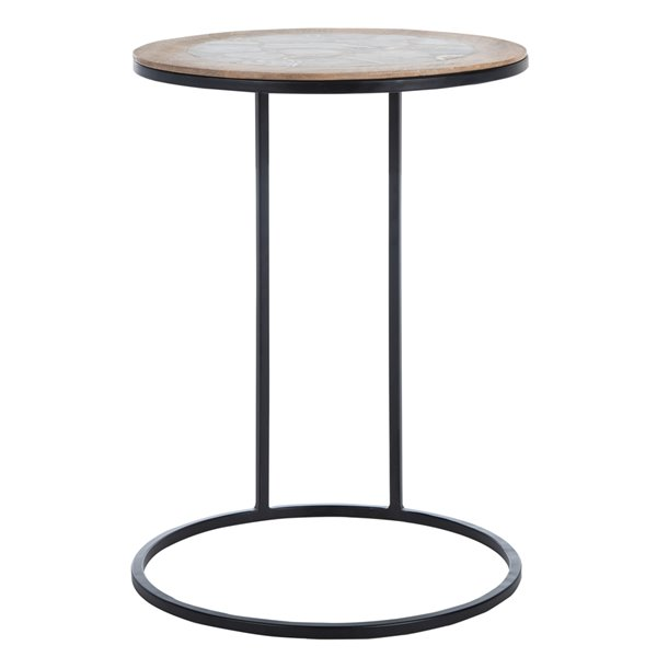 Safavieh Gemma Black Agate Round Side Table with Metal Frame