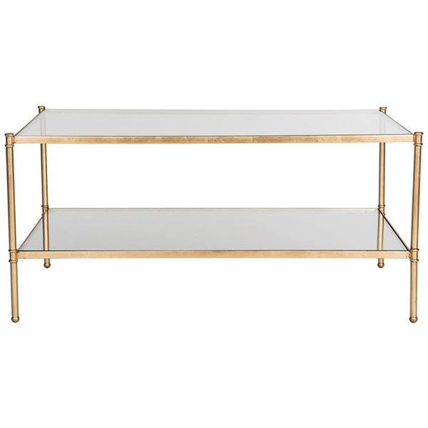 Safavieh Aslan Glass Rectangular Coffee Table with Antique Gold Finish Frame