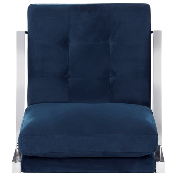 Safavieh Walden Modern Tufted Velvet Chrome Accent Chair - Navy