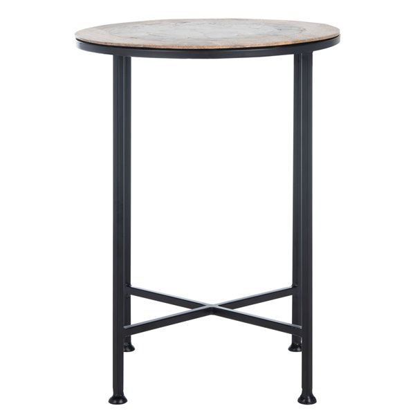 Safavieh Lumi Black Agate and Wood Accent Table with Black Legs