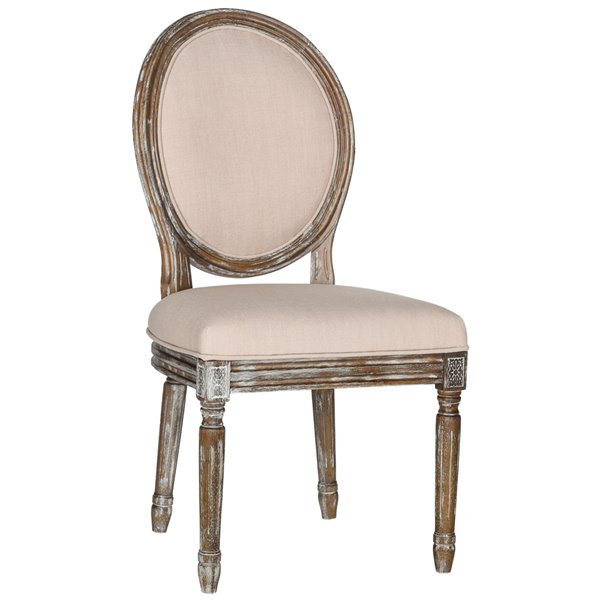 Safavieh Holloway 19-in H French Brasserie Linen Oval Side Chair  - Beige Seat and Rustic Oak Finish (Set Of 2)