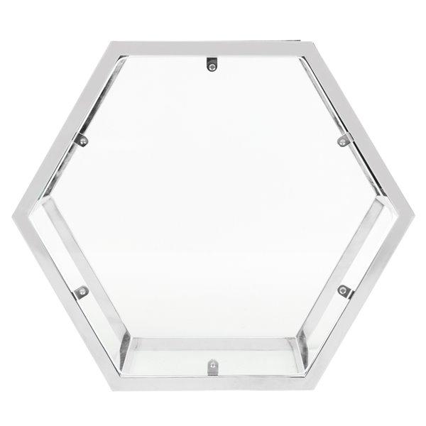 Safavieh Teagan Glass and Chrome Hexagon End Table