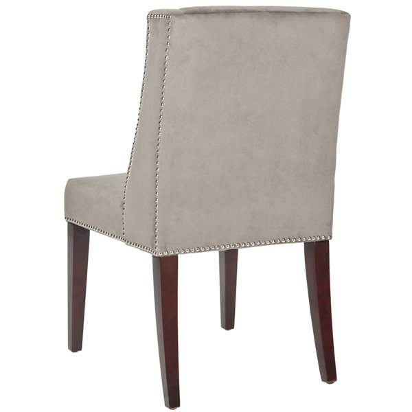 Safavieh Humphry 21-in H Dining Chair  with Silver Nail Heads - Mushroom Taupe Seat and Rustic Black Finish (Set Of 2)