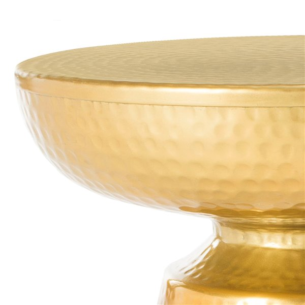 Safavieh Dov White Drum Side Table with Gold Base