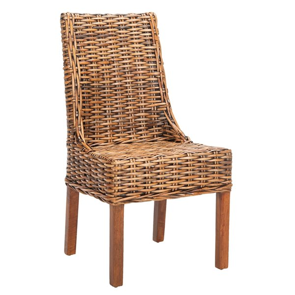 Safavieh Suncoast 18-in H Rattan Arm Chair  - Walnut Seat and Finish (Set Of 2)