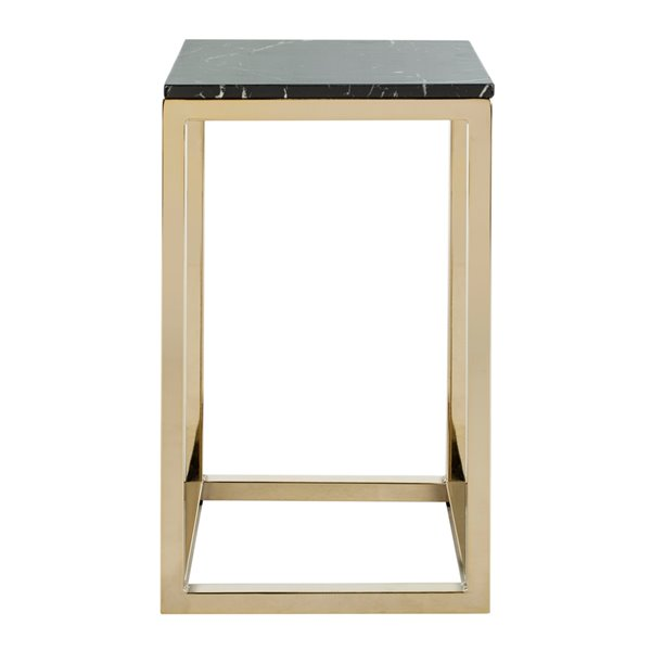 Safavieh Leah Square Side Table with Black Marble Finish and Brass Frame