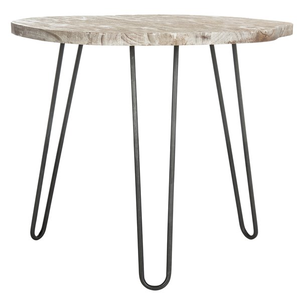 Safavieh Mindy Wood Top Dining Table - Grey and White Wash - 35.4-in L x 39.4-in W - Sits 3