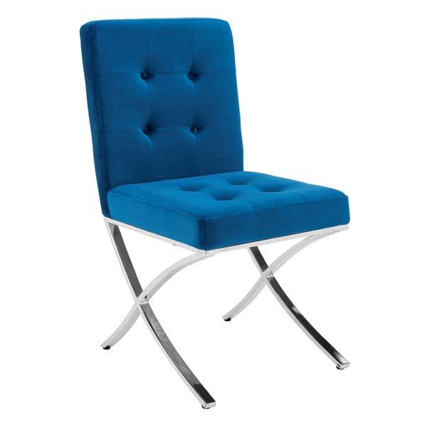 Safavieh Walsh Tufted Velvet Side Chair - Navy/Chrome