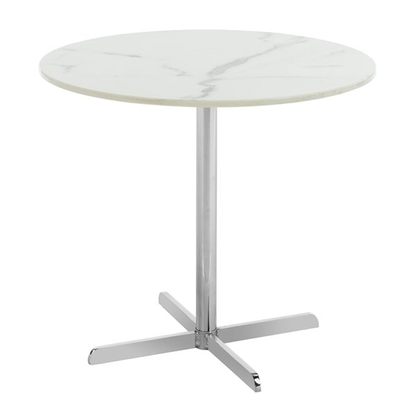 Safavieh Winnie Round White Marble Side Table with Chrome Finish