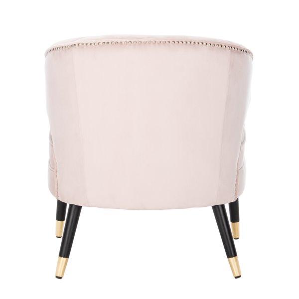 Safavieh Stazia Wingback Velvet Accent Chair - Pale Pink/Black