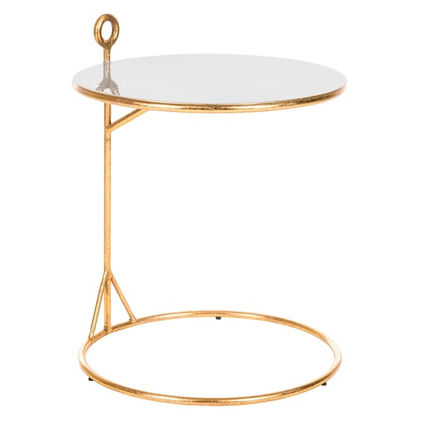 Safavieh Emirah Round C Table with Grey Enable Top and Gold Finished Base
