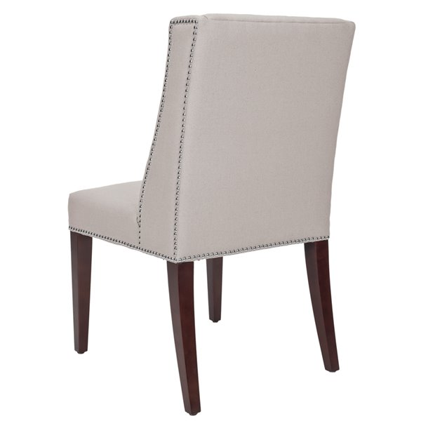 Safavieh Rachel 21-in H Arm Chair  with Silver Nail Heads - Taupe Seat and Cherry Finish (Set Of 2)