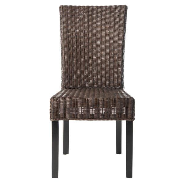 Safavieh Siesta 18-in H Wicker Side Chair  - Dark Brown Seat and Finish (Set Of 2)