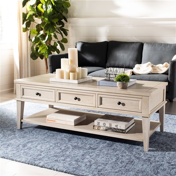 Safavieh Manelin Rectangular Wood Coffee Table With Storage Drawers - Whitewash