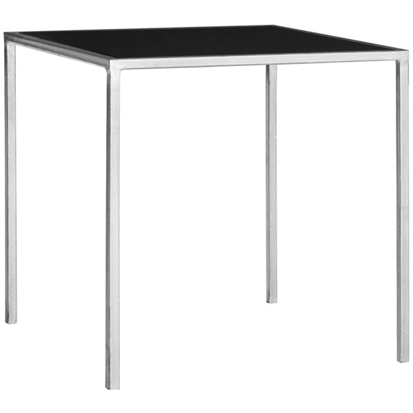 Safavieh Kiley Rectangular Black Glass Accent Table with Silver Iron Base