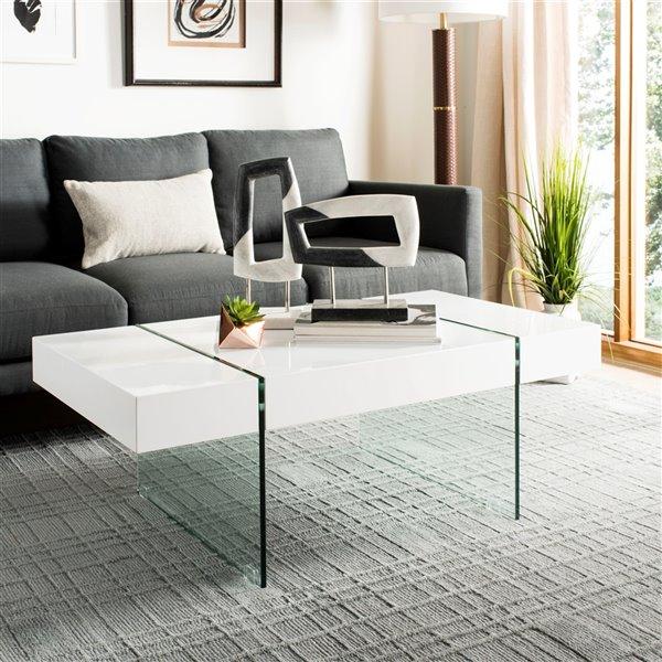 Safavieh Jacob Rectangular Glass Leg Modern Coffee Table - White