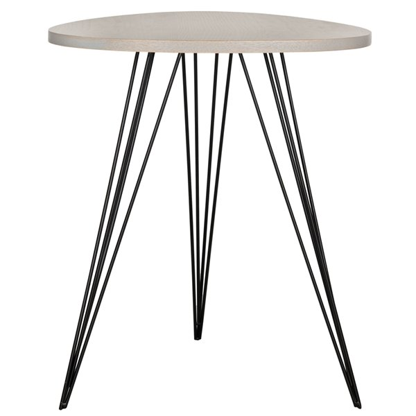 Safavieh Wolcott Side Table with a Grey Top and Black Iron Legs