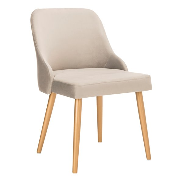 Safavieh Lulu Upholstered Dining Chair  - Grey Seat and Finish (Set Of 2)
