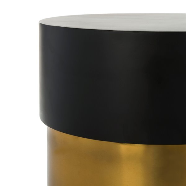 Safavieh Solstice Round Side Table with Black Top and Gold Polished Base