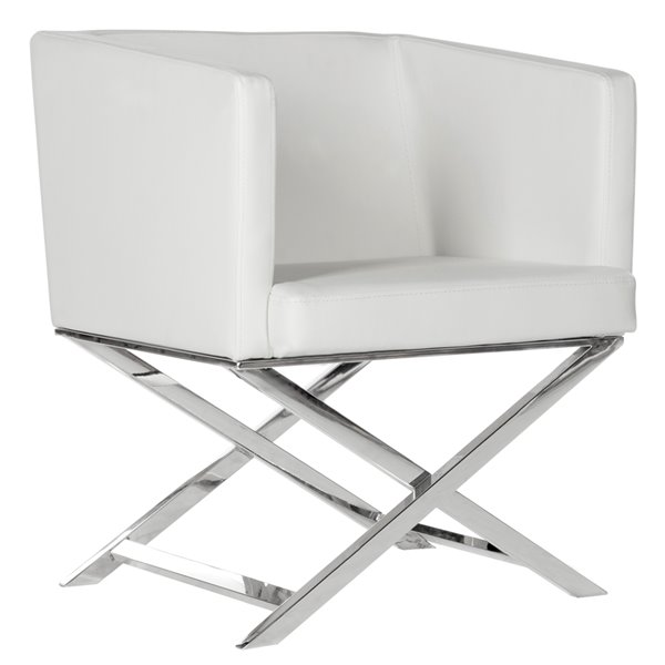 Safavieh Celine Leather Cross Leg Chair - White/Chrome