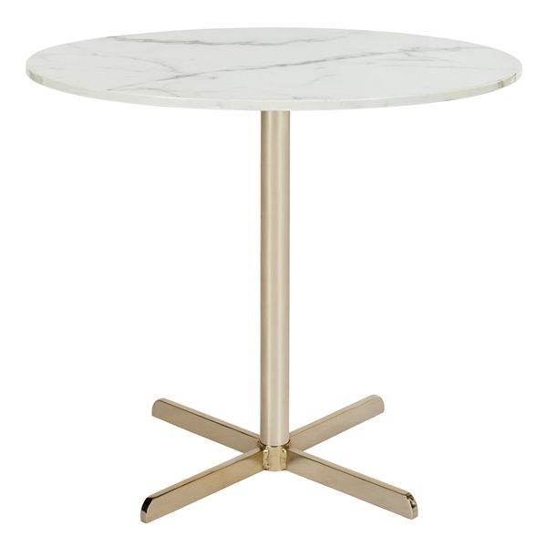 Safavieh Winnie Round White Marble Side Table with Brass Finish