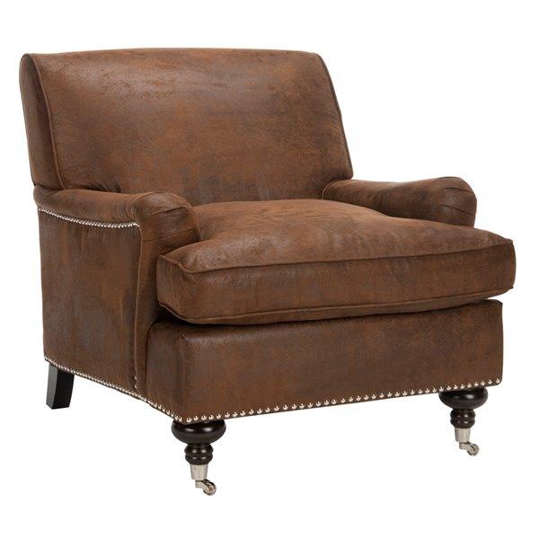 Safavieh Chloe Club Faux Leather Chair - Brown/Espresso