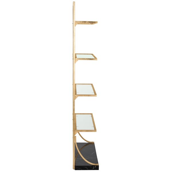 Safavieh Spano 4 Glass Tier Marble Base Etagere - Gold and Black Finish